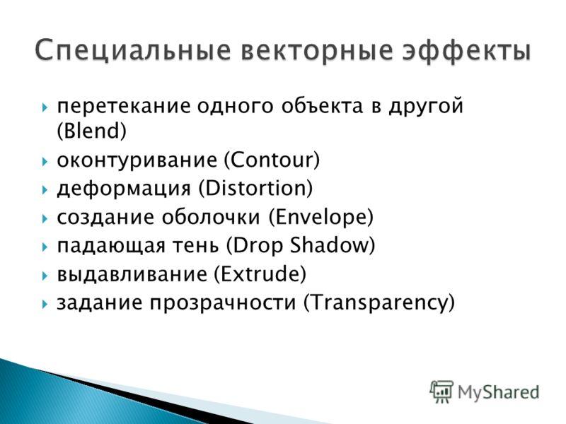 перетекание одного объекта в другой (Blend) оконтуривание (Contour) деформация (Distortion) создание оболочки (Envelope) падающая тень (Drop Shadow) выдавливание (Extrude) задание прозрачности (Transparency)