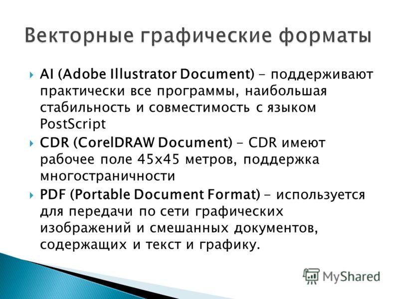 AI (Adobe Illustrator Document) - поддерживают практически все программы, наибольшая стабильность и совместимость с языком PostScript CDR (CorelDRAW Document) - CDR имеют рабочее поле 45х45 метров, поддержка многостраничности PDF (Portable Document F