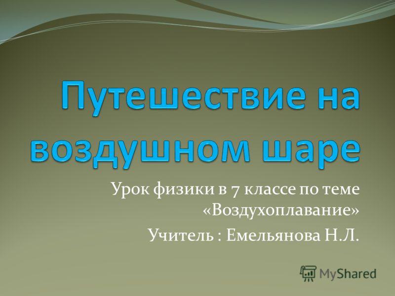 Урок физики в 7 классе по теме «Воздухоплавание» Учитель : Емельянова Н.Л.