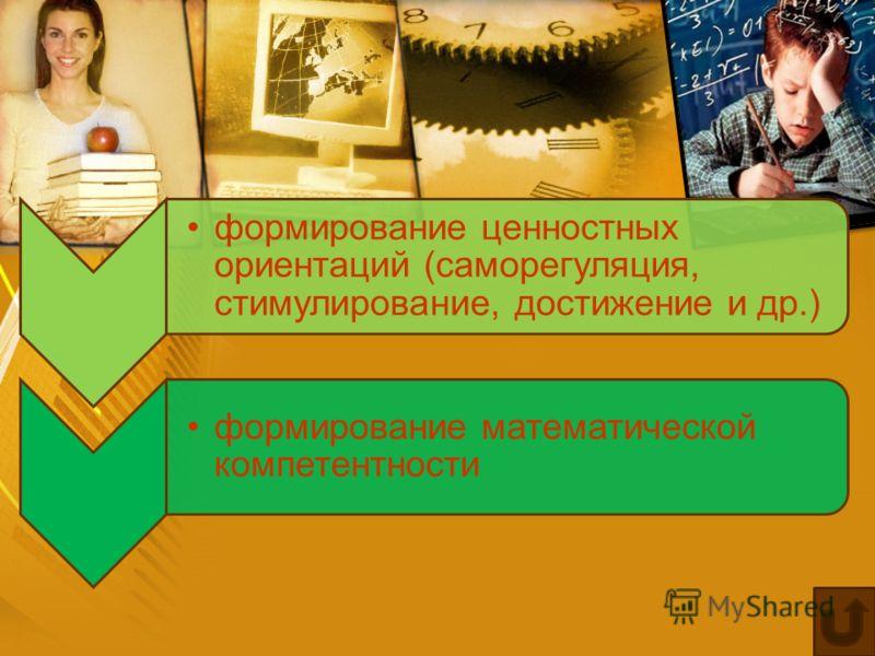 формирование ценностных ориентаций (саморегуляция, стимулирование, достижение и др.) формирование математической компетентности