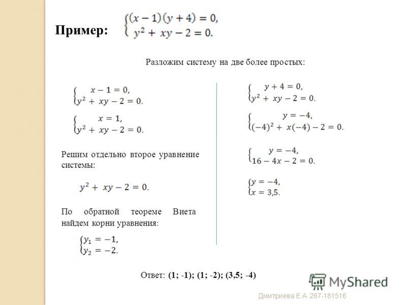 Пример: Разложим систему на две более простых: Решим отдельно второе уравнение системы: По обратной теореме Виета найдем корни уравнения : Ответ: (1; -1); (1; -2); (3,5; -4) Дмитриева Е. А. 267-181516