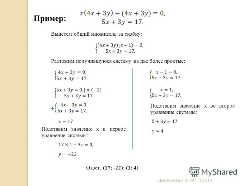 Пример: Ответ: (17; -22); (1; 4) Вынесем общий множитель за скобку: Разложим получившуюся систему на две более простые: Подставим значение x в первое уравнение системы: Подставим значение x во второе уравнение системы: Дмитриева Е. А. 267-181516