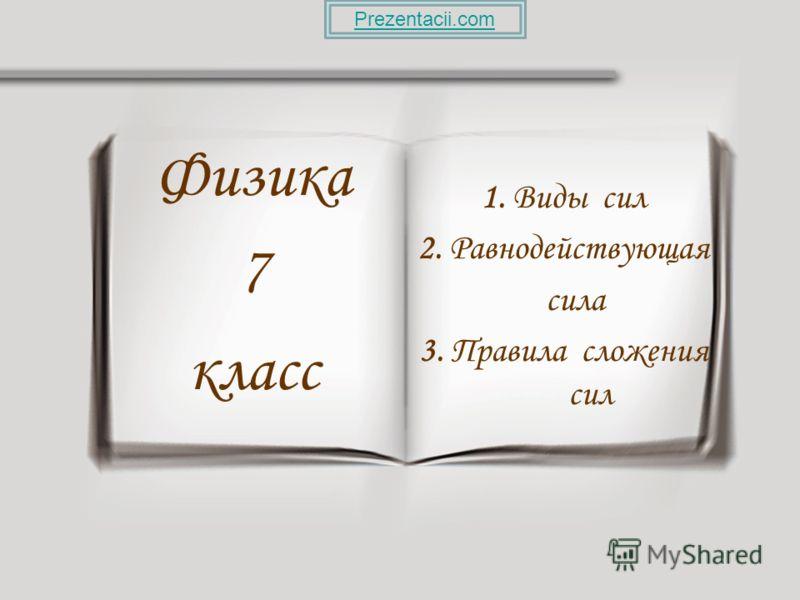 1. Виды сил 2. Равнодействующая сила 3. Правила сложения сил Физика 7 класс Prezentacii.com