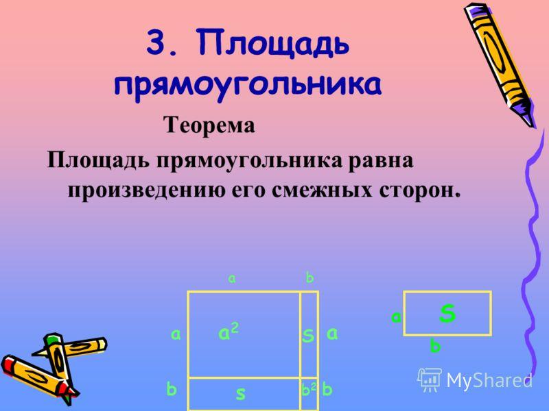 3. Площадь прямоугольника Теорема Площадь прямоугольника равна произведению его смежных сторон. S a b а2а2 s a bb a S b2b2 ab