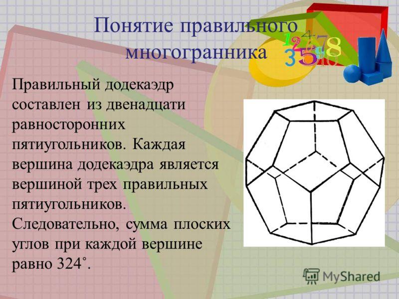 Правильный додекаэдр составлен из двенадцати равносторонних пятиугольников. Каждая вершина додекаэдра является вершиной трех правильных пятиугольников. Следовательно, сумма плоских углов при каждой вершине равно 324˚.