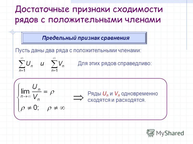 Достаточные признаки сходимости рядов с положительными членами Предельный признак сравнения Пусть даны два ряда с положительными членами: Для этих рядов справедливо: Ряды U n и V n одновременно сходятся и расходятся.