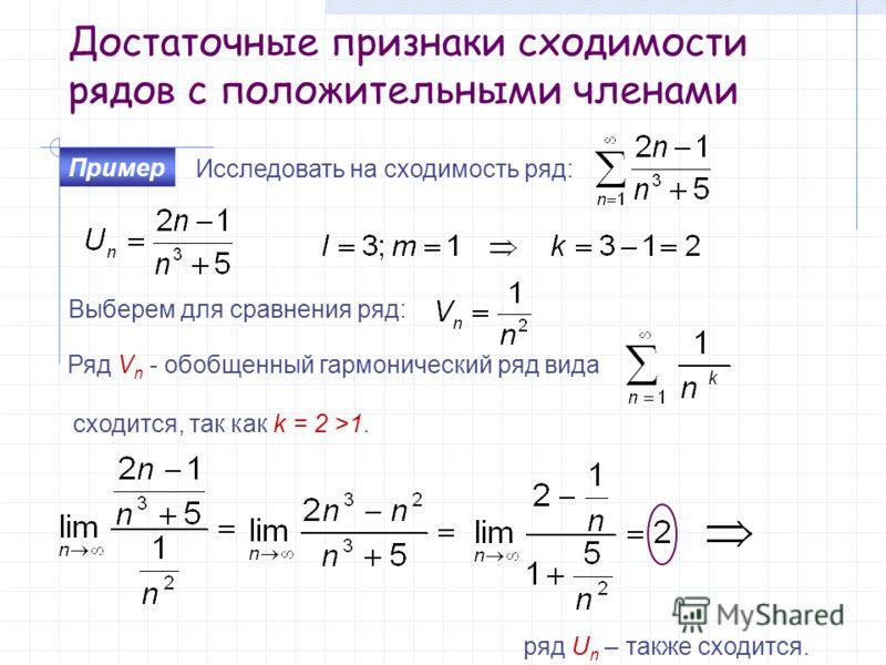 Достаточные признаки сходимости рядов с положительными членами Исследовать на сходимость ряд: Пример Выберем для сравнения ряд: Ряд V n - обобщенный гармонический ряд вида сходится, так как k = 2 >1. ряд U n – также сходится.