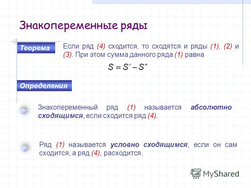 Знакопеременные ряды Если ряд (4) сходится, то сходятся и ряды (1), (2) и (3). При этом сумма данного ряда (1) равна Знакопеременный ряд (1) называется абсолютно сходящимся, если сходится ряд (4). Ряд (1) называется условно сходящимся, если он сам сх