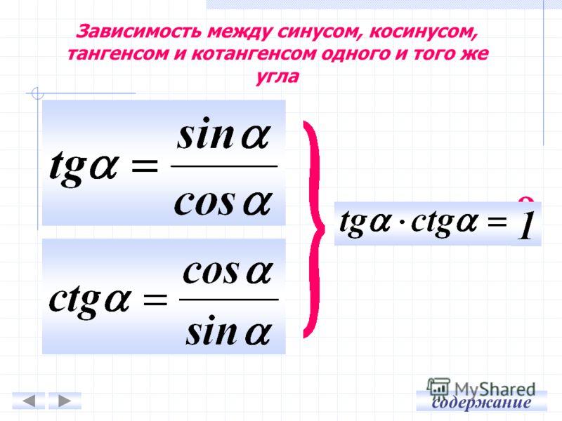 содержание Зависимость между синусом, косинусом, тангенсом и котангенсом одного и того же угла