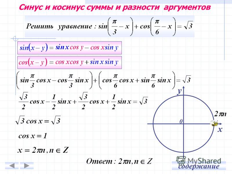 содержание Синус и косинус суммы и разности аргументов у х 0
