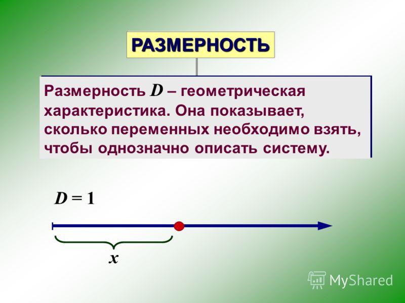 Размерность D – геометрическая характеристика. Она показывает, сколько переменных необходимо взять, чтобы однозначно описать систему. D = 1 x РАЗМЕРНОСТЬРАЗМЕРНОСТЬ