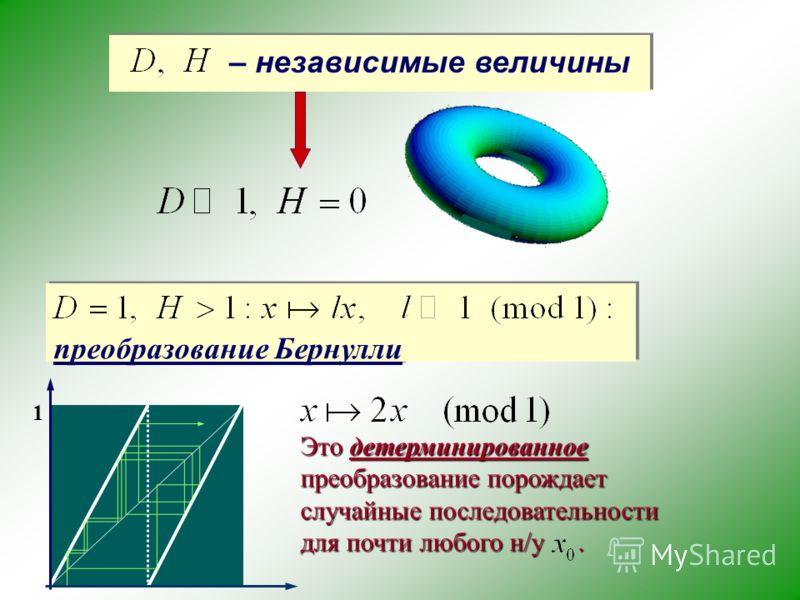 – независимые величины преобразование Бернулли 1 Это детерминированное преобразование порождает случайные последовательности для почти любого н/у.