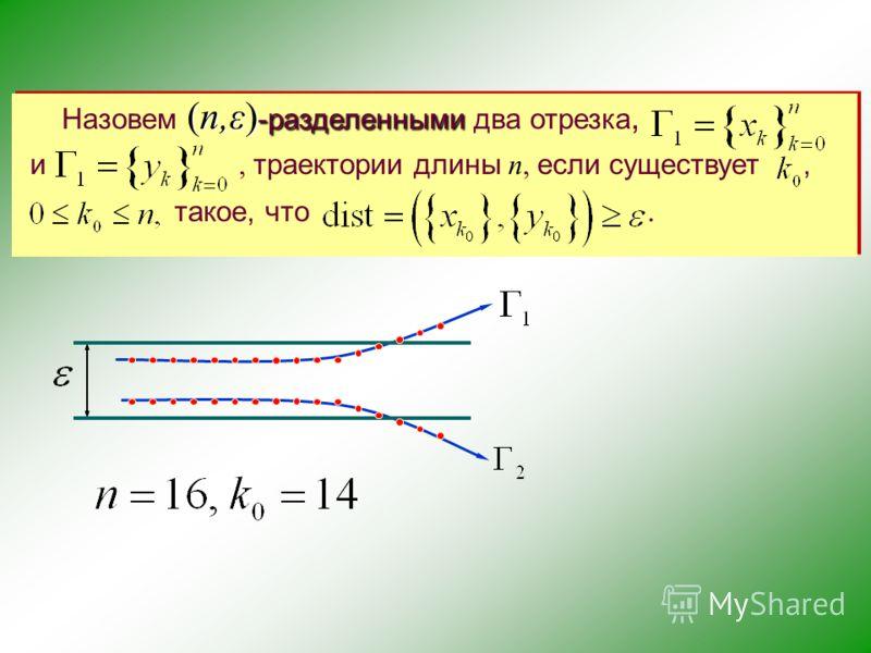 (n,ε) -разделенными Назовем (n,ε) -разделенными два отрезка, и, траектории длины n, если существует, такое, что.