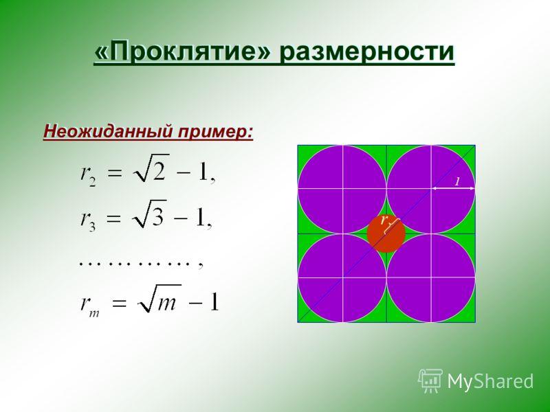 «Проклятие» размерности Неожиданный пример: r 1
