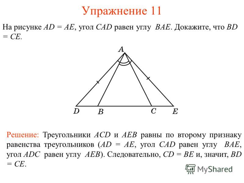 Упражнение 11 Решение: Треугольники ACD и AEB равны по второму признаку равенства треугольников (AD = AE, угол CAD равен углу BAE, угол ADC равен углу AEB). Следовательно, CD = BE и, значит, BD = CE. На рисунке AD = AE, угол CAD равен углу BAE. Докаж