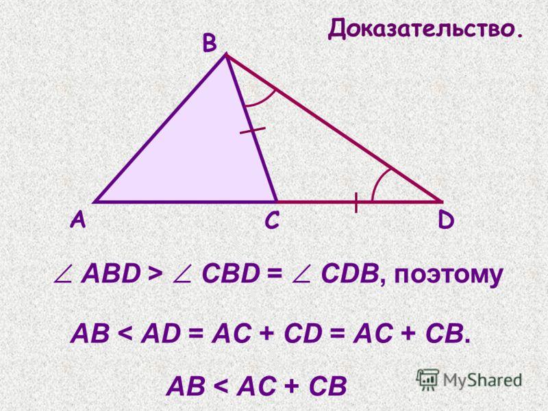 ABD > CBD = CDB, поэтому AB < AD = AC + CD = AC + CB. В А С D AB < AC + CB Доказательство.