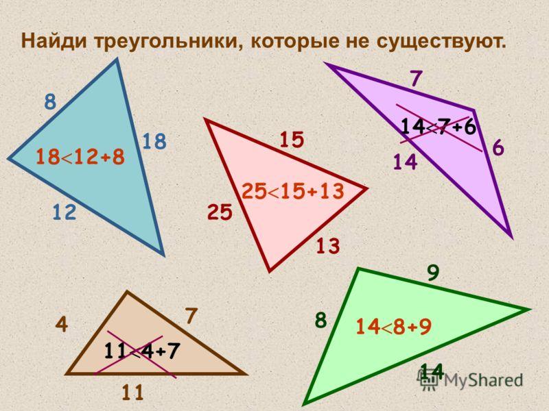 Найди треугольники, которые не существуют. 8 12 18 18 12+8 7 6 14 14 7+6 4 7 11 11 4+7 8 9 14 14 8+9 25 13 15 25 15+13