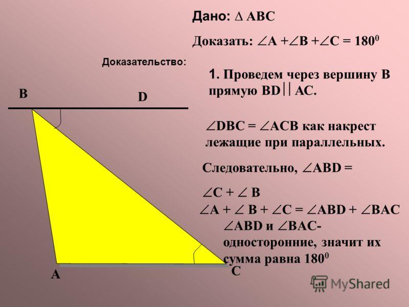 Дано: АВС Доказать: А + В + С = 180 0 С А В Доказательство: 1. Проведем через вершину В прямую BD АС. D DBC = ACB как накрест лежащие при параллельных. Следовательно, ABD = С + В А + В + С = ABD + BAC ABD и BAC- односторонние, значит их сумма равна 1