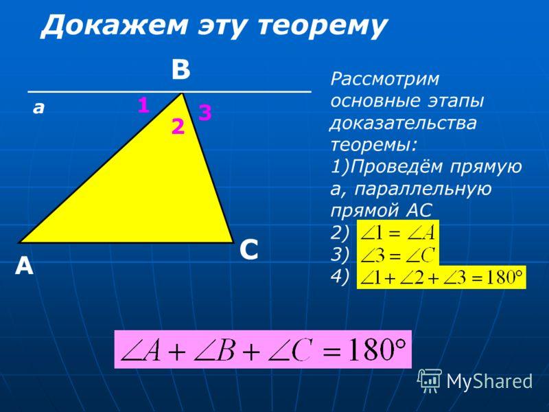 Докажем эту теорему Рассмотрим основные этапы доказательства теоремы: 1)Проведём прямую а, параллельную прямой АС 2) 3) 4) А С В 1 2 3 а