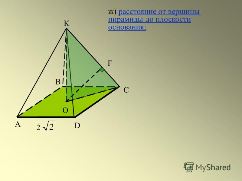 А С D 2 В К О F ж) расстояние от вершины пирамиды до плоскости основания;расстояние от вершины пирамиды до плоскости основания;