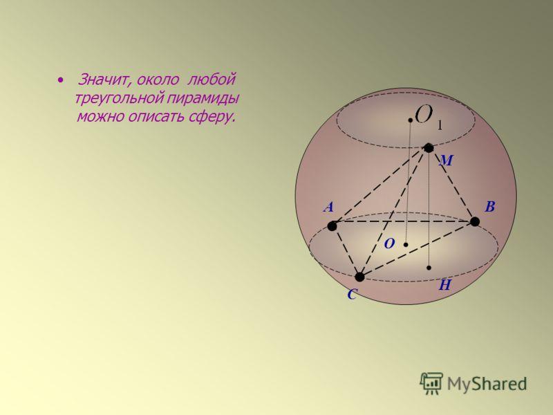 Значит, около любой треугольной пирамиды можно описать сферу. АВ С M H O