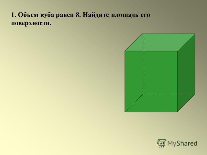 1. Объем куба равен 8. Найдите площадь его поверхности.