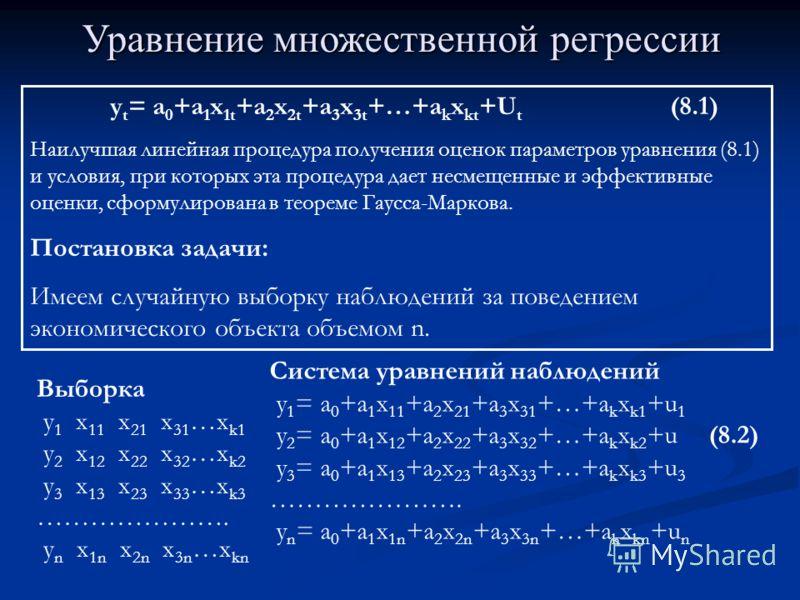 Уравнение множественной регрессии y t = a 0 +a 1 x 1t +a 2 x 2t +a 3 x 3t +…+a k x kt +U t (8.1) Наилучшая линейная процедура получения оценок параметров уравнения (8.1) и условия, при которых эта процедура дает несмещенные и эффективные оценки, сфор