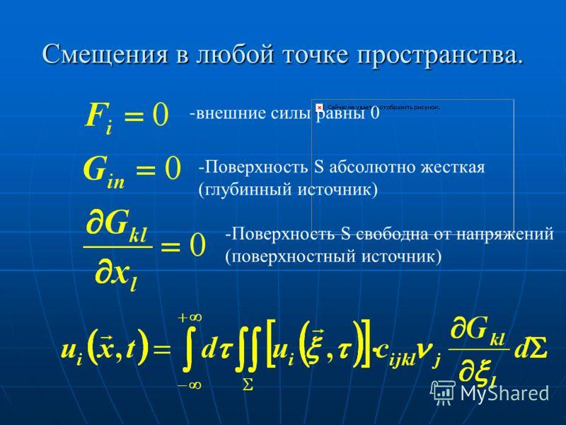 Смещения в любой точке пространства. - внешние силы равны 0 -Поверхность S абсолютно жесткая (глубинный источник) -Поверхность S свободна от напряжений (поверхностный источник)
