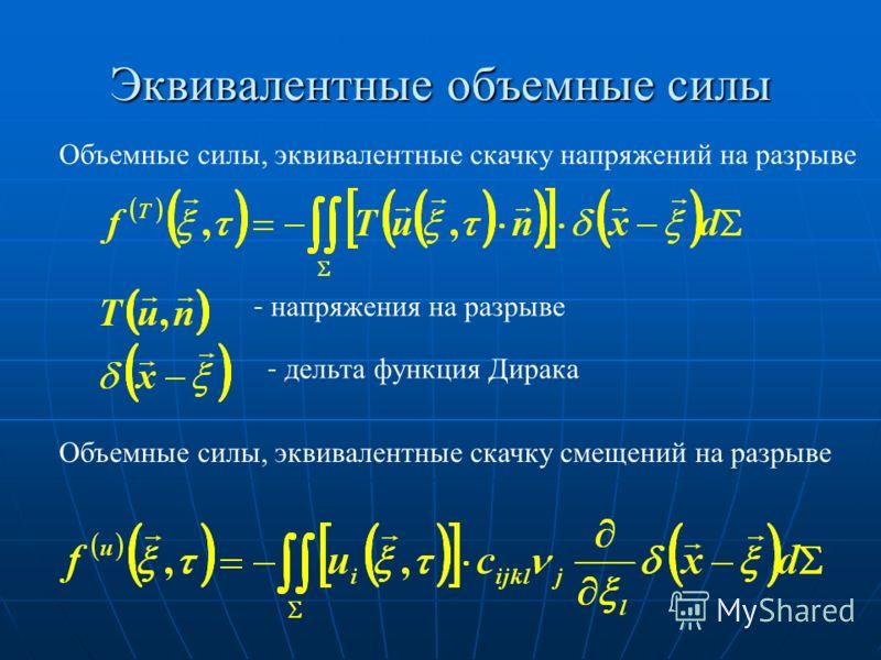 Эквивалентные объемные силы Объемные силы, эквивалентные скачку напряжений на разрыве - напряжения на разрыве - дельта функция Дирака Объемные силы, эквивалентные скачку смещений на разрыве
