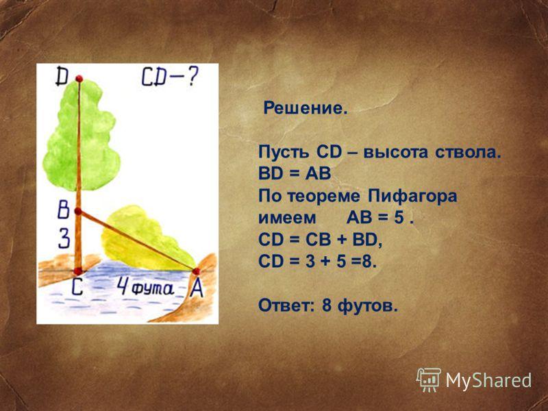 Решение. Пусть CD – высота ствола. BD = АВ По теореме Пифагора имеем АВ = 5. CD = CB + BD, CD = 3 + 5 =8. Ответ: 8 футов.