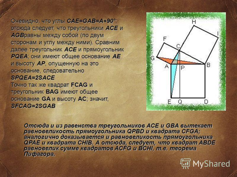 Очевидно, что углы CAE=GAB=A+90°; отсюда следует, что треугольники ACE и AGBравны между собой (по двум сторонам и углу между ними). Сравним далее треугольник ACE и прямоугольник PQEA; они имеют общее основание AE и высоту AP, опущенную на это основан