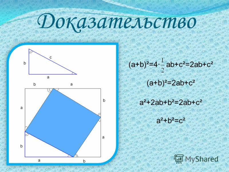 Доказательство (a+b)²=4 ab+c²=2ab+c² (a+b)²=2ab+c² a²+2ab+b²=2ab+c² a²+b²=c²