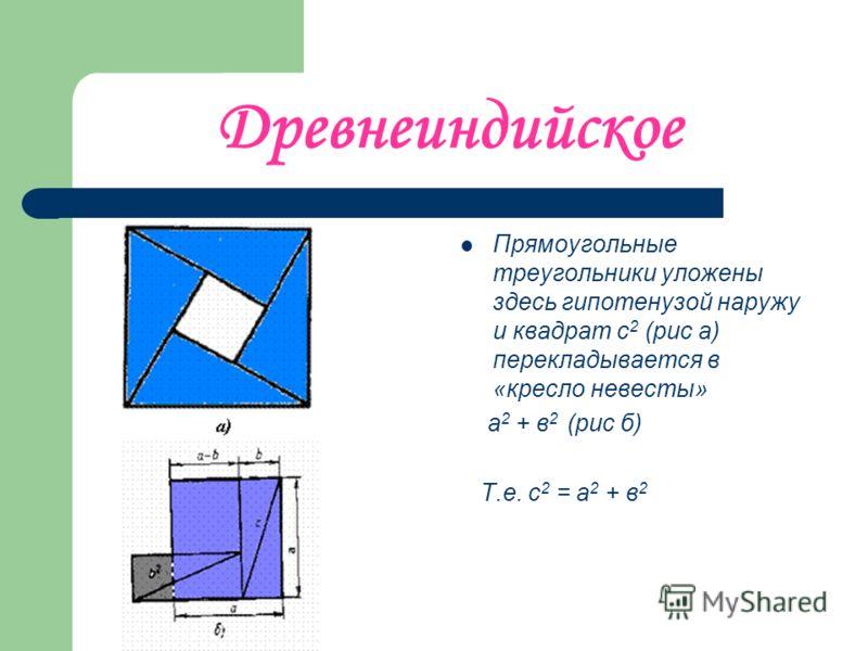 Древнеиндийское Прямоугольные треугольники уложены здесь гипотенузой наружу и квадрат с 2 (рис а) перекладывается в «кресло невесты» а 2 + в 2 (рис б) Т.е. с 2 = а 2 + в 2