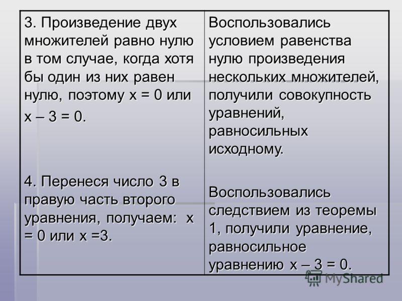 3. Произведение двух множителей равно нулю в том случае, когда хотя бы один из них равен нулю, поэтому х = 0 или х – 3 = 0. 4. Перенеся число 3 в правую часть второго уравнения, получаем: х = 0 или х =3. Воспользовались условием равенства нулю произв