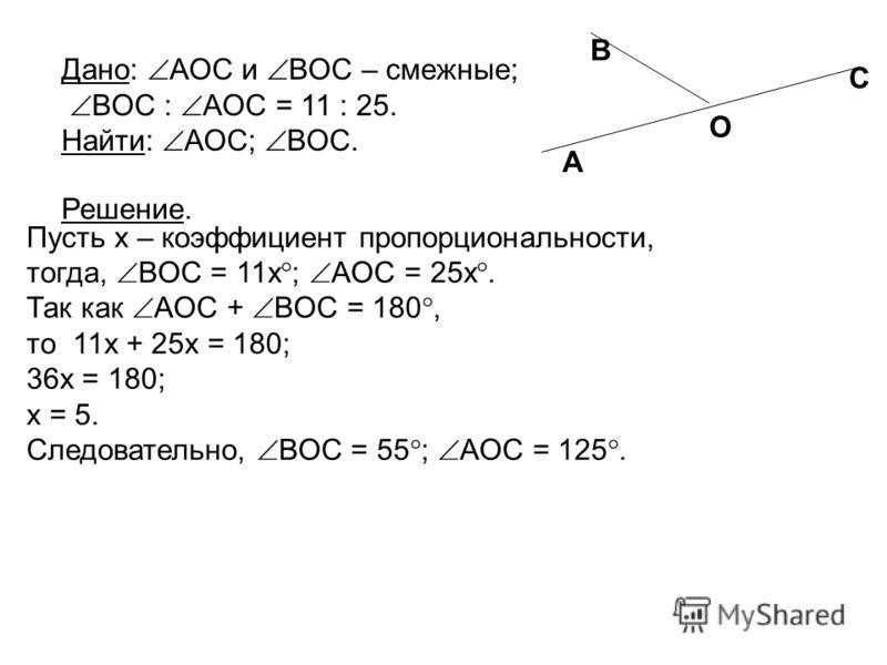 Пусть x – коэффициент пропорциональности, тогда, BOC = 11x ; AOC = 25x. Так как AOC + BOC = 180, то 11x + 25x = 180; 36x = 180; x = 5. Следовательно, BOC = 55 ; AOC = 125. Дано: AOC и BOC – смежные; BOC : AOC = 11 : 25. Найти: AOC; BOC. Решение. A O