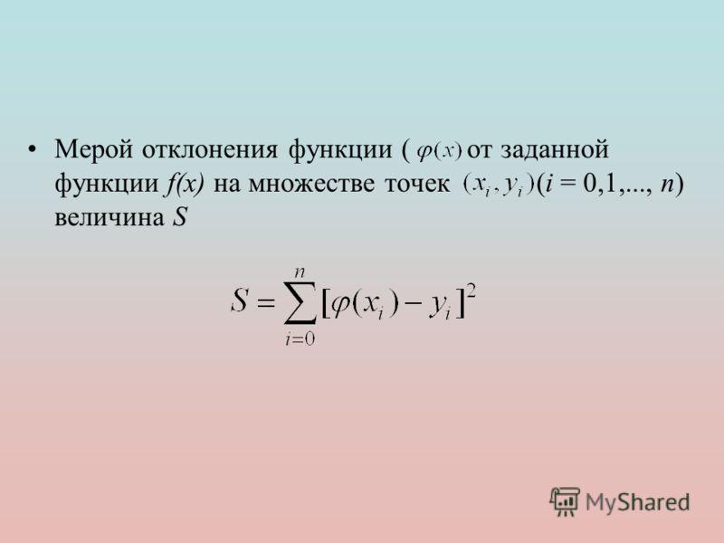 Мерой отклонения функции ( от заданной функции f(x) на множестве точек (i = 0,1,..., n) величина S