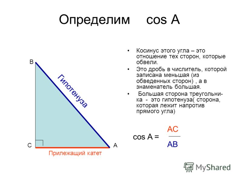 Определим cos A Косинус этого угла – это отношение тех сторон, которые обвели. Это дробь в числитель, которой записана меньшая (из обведенных сторон), а в знаменатель большая. Большая сторона треугольни- ка - это гипотенуза( сторона, которая лежит на