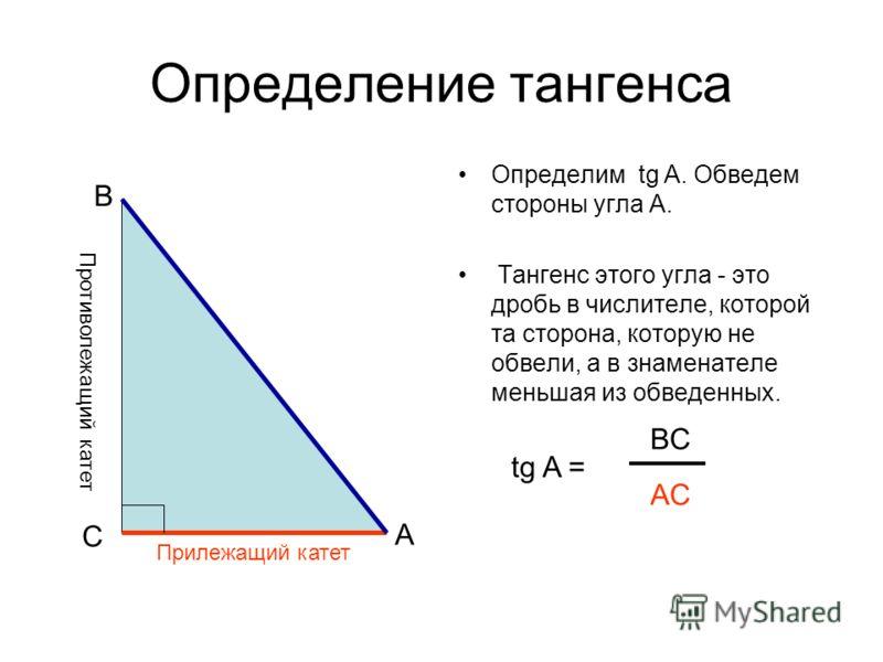 Определение тангенса Определим tg A. Обведем стороны угла А. Тангенс этого угла - это дробь в числителе, которой та сторона, которую не обвели, а в знаменателе меньшая из обведенных. A C B Противолежащий катет tg A = BC AC Прилежащий катет