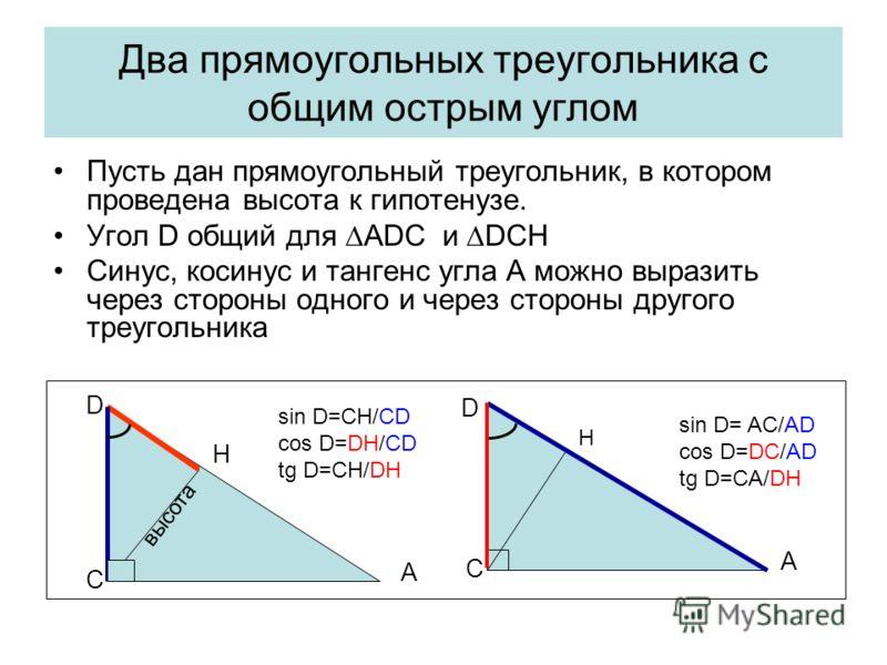 Два прямоугольных треугольника с общим острым углом Пусть дан прямоугольный треугольник, в котором проведена высота к гипотенузе. Угол D общий для АDC и DCH Синус, косинус и тангенс угла А можно выразить через стороны одного и через стороны другого т