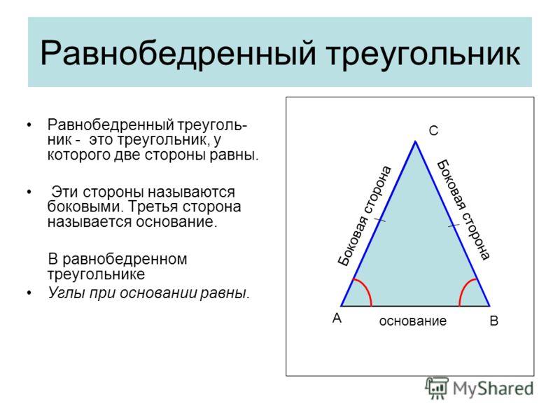 Равнобедренный треугольник Равнобедренный треуголь- ник - это треугольник, у которого две стороны равны. Эти стороны называются боковыми. Третья сторона называется основание. В равнобедренном треугольнике Углы при основании равны. основание Боковая с