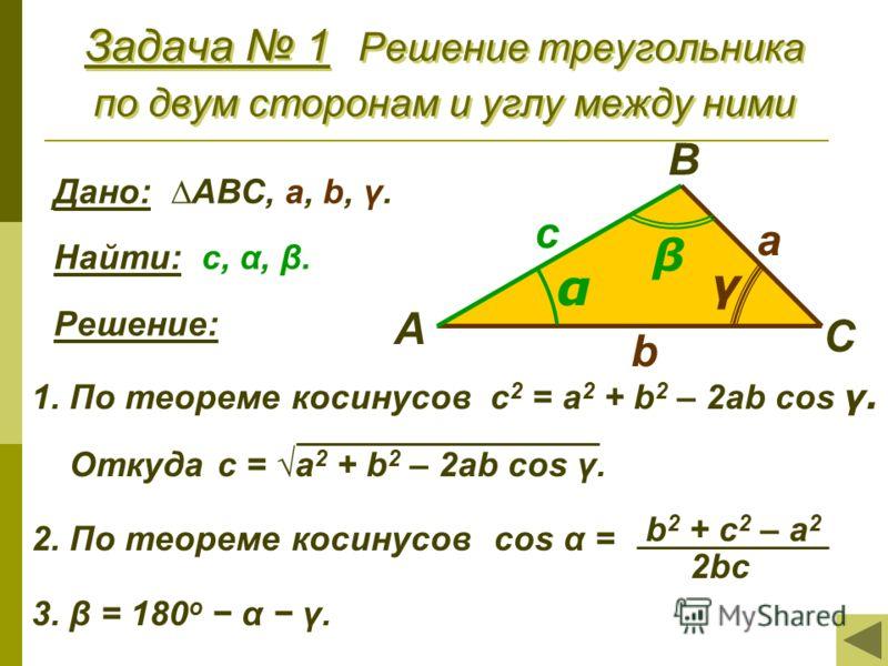 Задача 1 Решение треугольника по двум сторонам и углу между ними Дано: АВС, a, b, γ. Найти: с, α, β. Решение: 1. По теореме косинусов с 2 = a 2 + b 2 – 2ab cos γ. Откуда с = a 2 + b 2 – 2ab cos γ. 2. По теореме косинусов cos α = 3. β = 180 о α γ. b 2