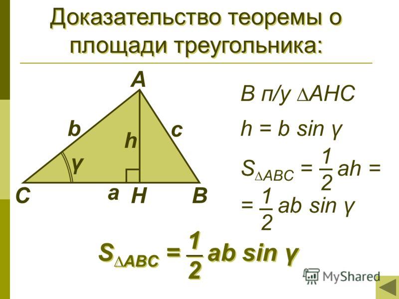 Доказательство теоремы о площади треугольника: С А В с b a h γ S ABC = ah = = ab sin γ 1 2 1 2 В п/у АНС h = b sin γ Н S ABC = ab sin γ 1 1 2 2