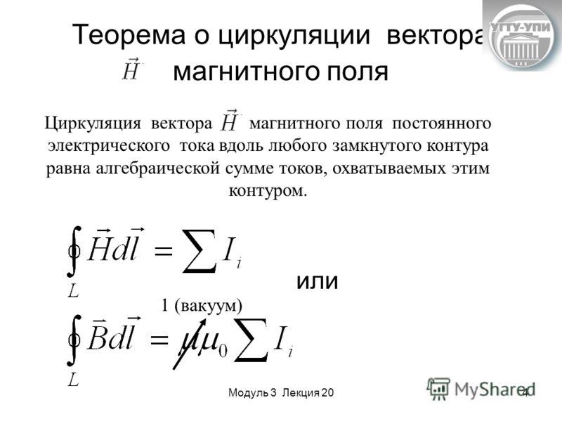 Модуль 3 Лекция 204 Теорема о циркуляции вектора магнитного поля Циркуляция вектора магнитного поля постоянного электрического тока вдоль любого замкнутого контура равна алгебраической сумме токов, охватываемых этим контуром. 1 (вакуум) или