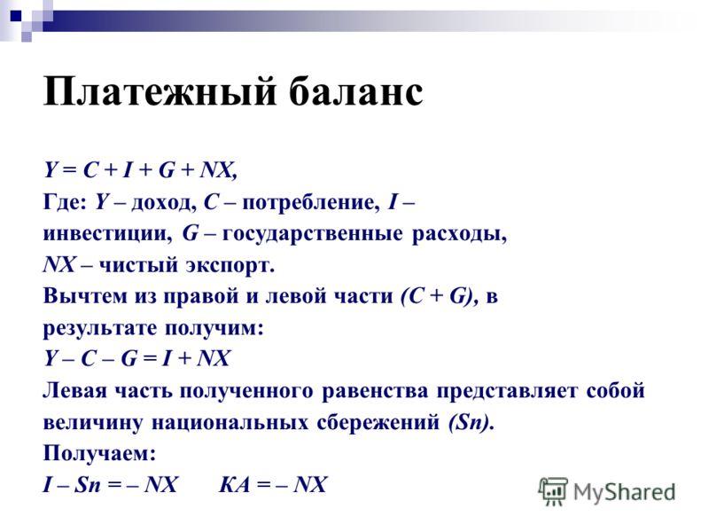 Платежный баланс Y = C + I + G + NX, Где: Y – доход, С – потребление, I – инвестиции, G – государственные расходы, NX – чистый экспорт. Вычтем из правой и левой части (С + G), в результате получим: Y – C – G = I + NX Левая часть полученного равенства