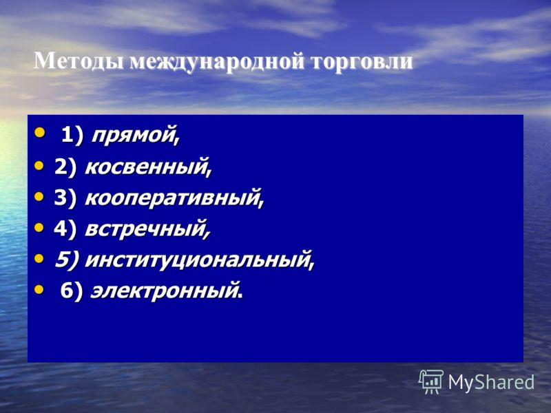Методы международной торговли 1) прямой, 1) прямой, 2) косвенный, 2) косвенный, 3) кооперативный, 3) кооперативный, 4) встречный, 4) встречный, 5) институциональный, 5) институциональный, 6) электронный. 6) электронный.