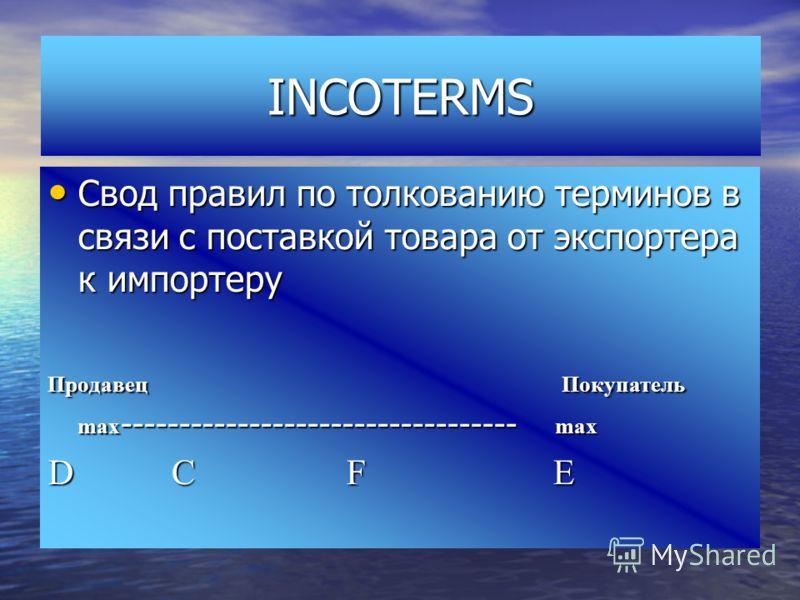 INCOTERMS Свод правил по толкованию терминов в связи с поставкой товара от экспортера к импортеру Свод правил по толкованию терминов в связи с поставкой товара от экспортера к импортеру Продавец Покупатель max ---------------------------------- max D