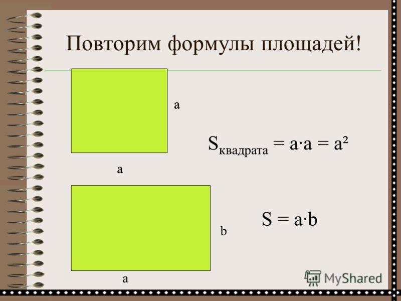 Повторим формулы площадей! а а S квадрата = а·а = а² а а a b S = а·b