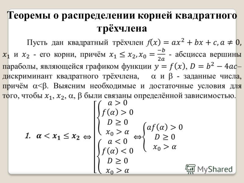 Теоремы о распределении корней квадратного трёхчлена