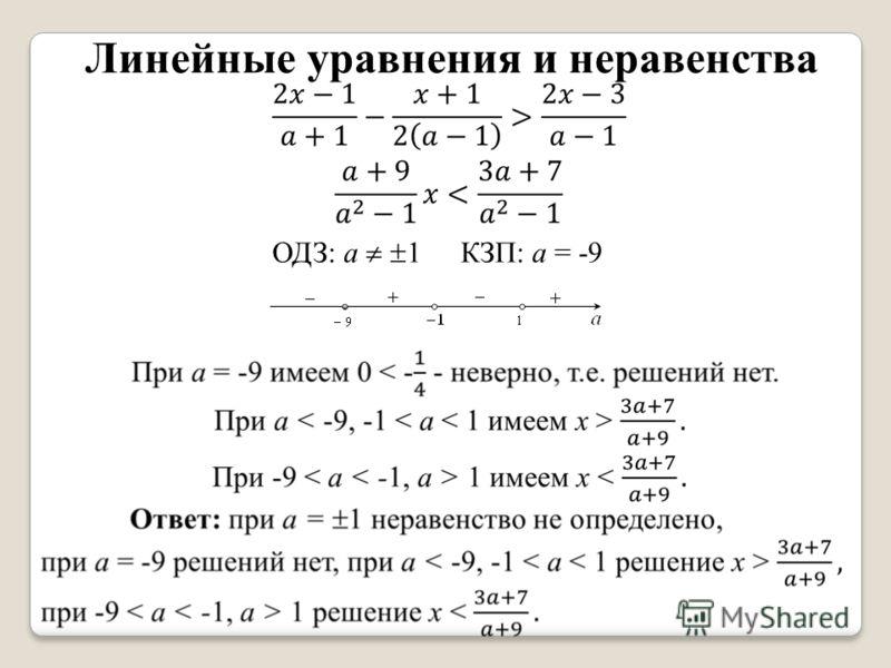 Линейные уравнения и неравенства ОДЗ: а 1 КЗП: а = -9