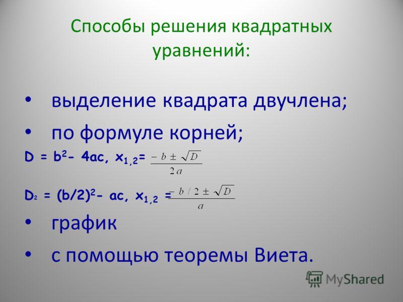 Способы решения квадратных уравнений: выделение квадрата двучлена; по формуле корней; D = b 2 - 4ac, x 1,2 = D 2 = (b/2) 2 - ac, x 1,2 = график с помощью теоремы Виета.